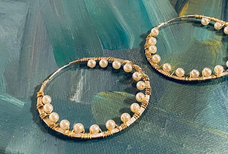 Good Plated Hoops with Pearls  Frida Hoops  Big Hoops  Hoop image 0