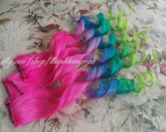 Pink Blue Green Rainbow Hair Clip In Pieces Fantasy Series  Floral Majesty Set of 2 rainbow clip in 100% human hair extensions