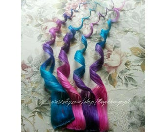 Pink Purple Blue Colored Dyed Hair Cotton Candy Set of 2 clip in 100% human hair extensions