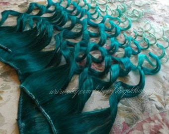 Fantasy Series - EMERALD - Set of 2 clip in 100% human hair extensions - Ombre Hair - Dip Dyed Hair - Green Hair