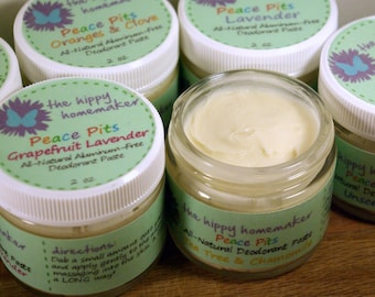 Peace Pits All-Natural Aluminum-Free Deodorant Paste -  Organic Vegan Deodorant - 2 oz. Glass Jar - Eco Friendly Packaging