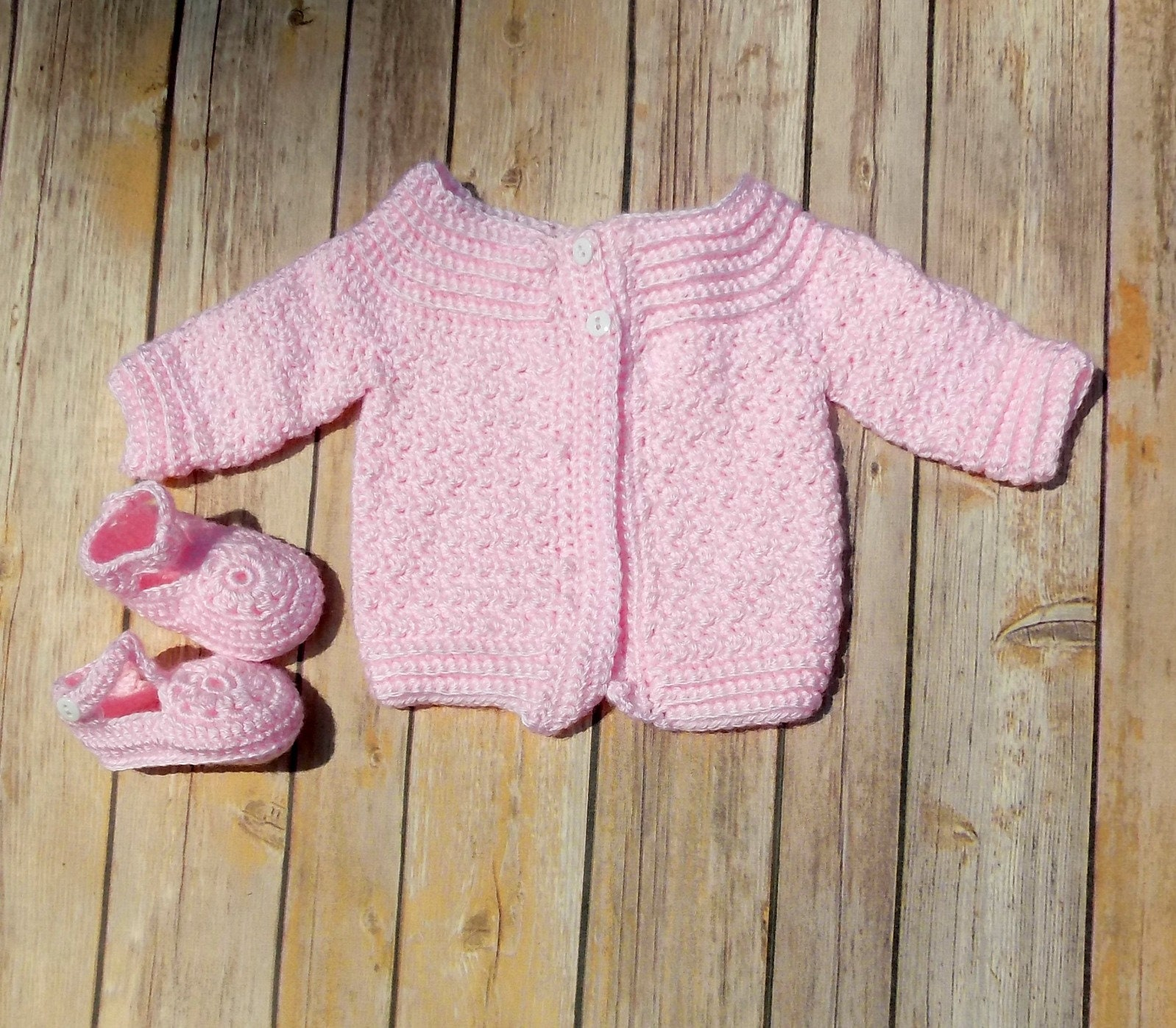 3beb9d938491 Classic Baby Cardigan in Soft Pink with Flower Shoes