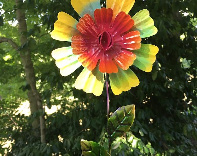 Featured listing image: Metal Flower, Metal Flower Stake, Garden Gift,Mothers Day,Metal Yard Sculpture,Flower Garden Stake,Metal flower, Flower, Metal garden Art