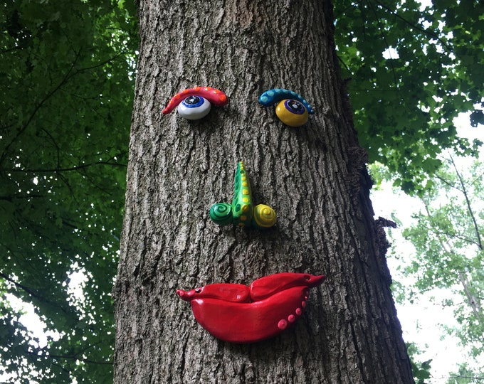 Featured listing image: Tree face, Yard ornament , Gift Ideas,Garden Art Tree People Outdoor Decor Yard Art Gardener Gift Housewarming gift ,Fence decor