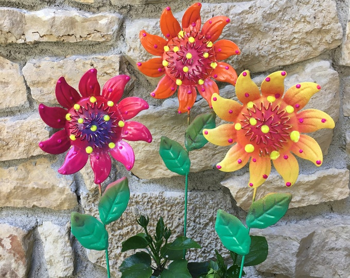 Featured listing image: Metal Flower Garden Stakes,Set of Three  Metal Garden Stakes, Yard decoration, Metal Flower, Metal Art, Garden Decor,Patio decor