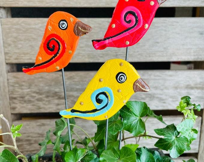 Featured listing image: Yard Art Bird Garden Stakes,Bird Garden Art,Potted plants, Great Gift,Lawn decor,Outdoor garden Sculpture,Garden Decor Garden Cute Birds