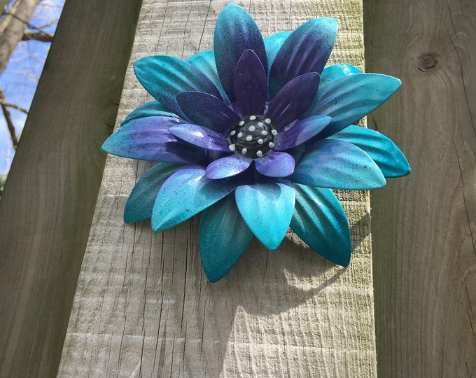 Featured listing image: Metal Flower,Blue Fence Flower,Fence Decoration,Patio Decor-Yard art-Flowers for Trees,Perfect Wall or Privacy Fence Accent,Pool Decor