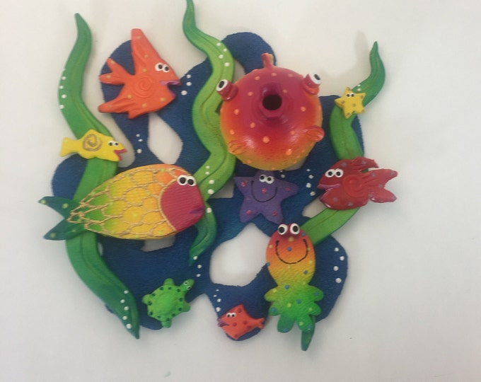 Featured listing image: Coral Reef Wall Hanging Sculpture,Ceramic wall hanging,Funky Fish