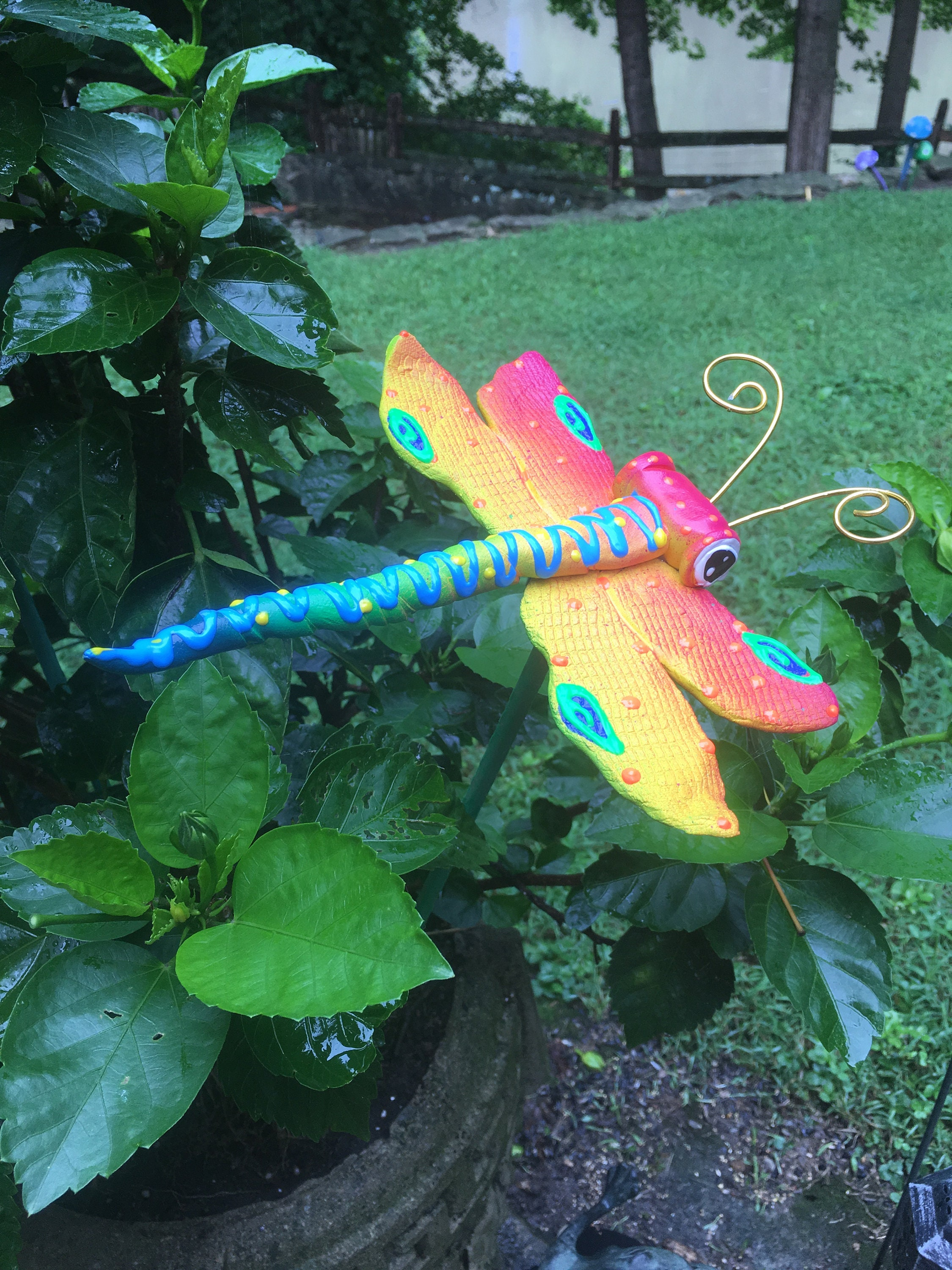 Ceramic Dragonfly Garden Stake, Garden Stakes,Potted Plants, Great  Gift,Lawn Decor,Outdoor Garden Stake,Garden Decor,