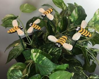 5 Ceramic Bumble Bee Garden Stakes,Honey Bee garden decor, Garden Stakes,Potted plants,Lawn decor,Outdoor garden Stake,Garden Decor