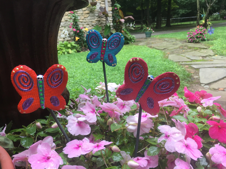 3 Ceramic Butterfly Garden Stakes, Garden Stakes,Potted Plants, Great  Gift,Lawn Decor,Outdoor Garden Stake,Garden Decor,