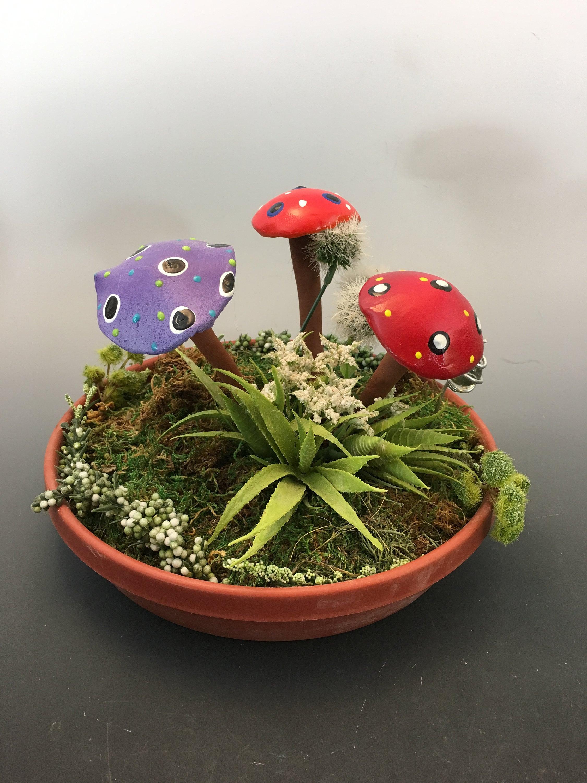 Three Hand Crafted Ceramic Fairy Garden Mushroom Garden Stake Clay Mushroom Terrarium Pot Decoration Fairy Garden