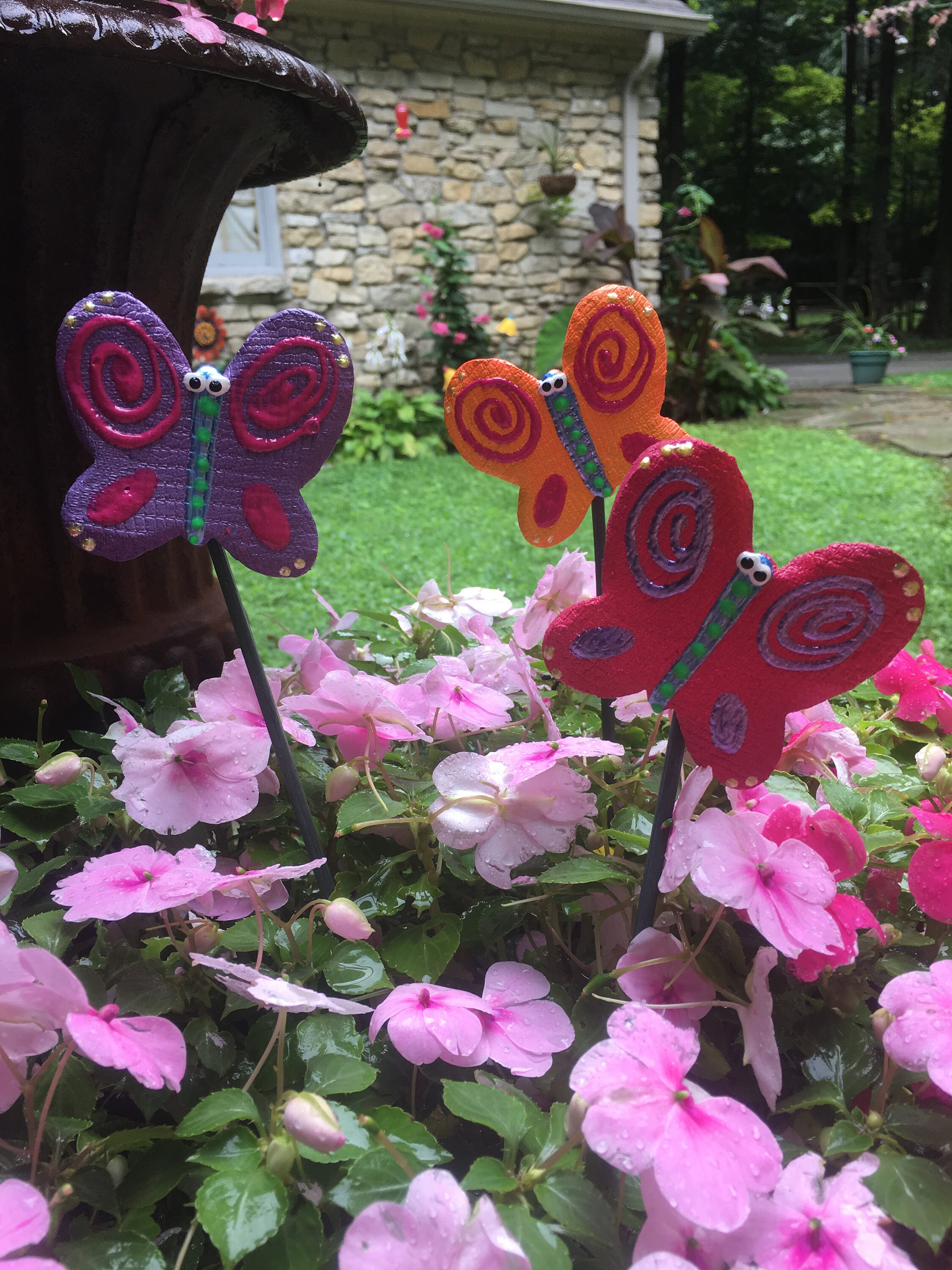 3 Ceramic Butterfly Garden Stakes, Garden Stakes,Potted Plants, Great  Gift,Lawn Decor,Outdoor Garden Stake,Garden Decor,