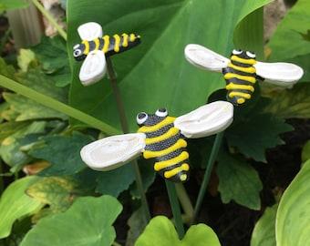3 Ceramic Bumble Bee Garden Stakes,Honey Bee garden decor, Garden Stakes,Potted plants,Lawn decor,Outdoor garden Stake,Garden Decor,