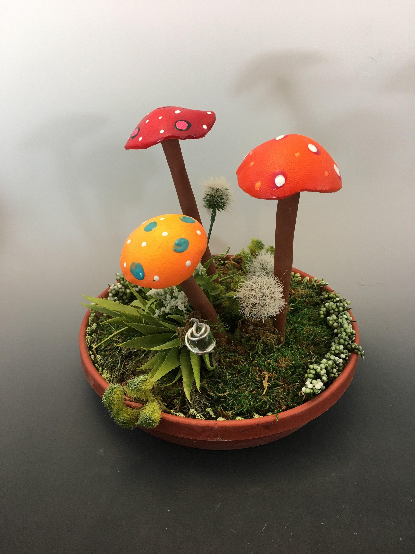 Three Hand Crafted Ceramic Fairy Garden Mushrooms Garden Stake Clay Mushroom Terrarium Pot Decoration Fairy Garden