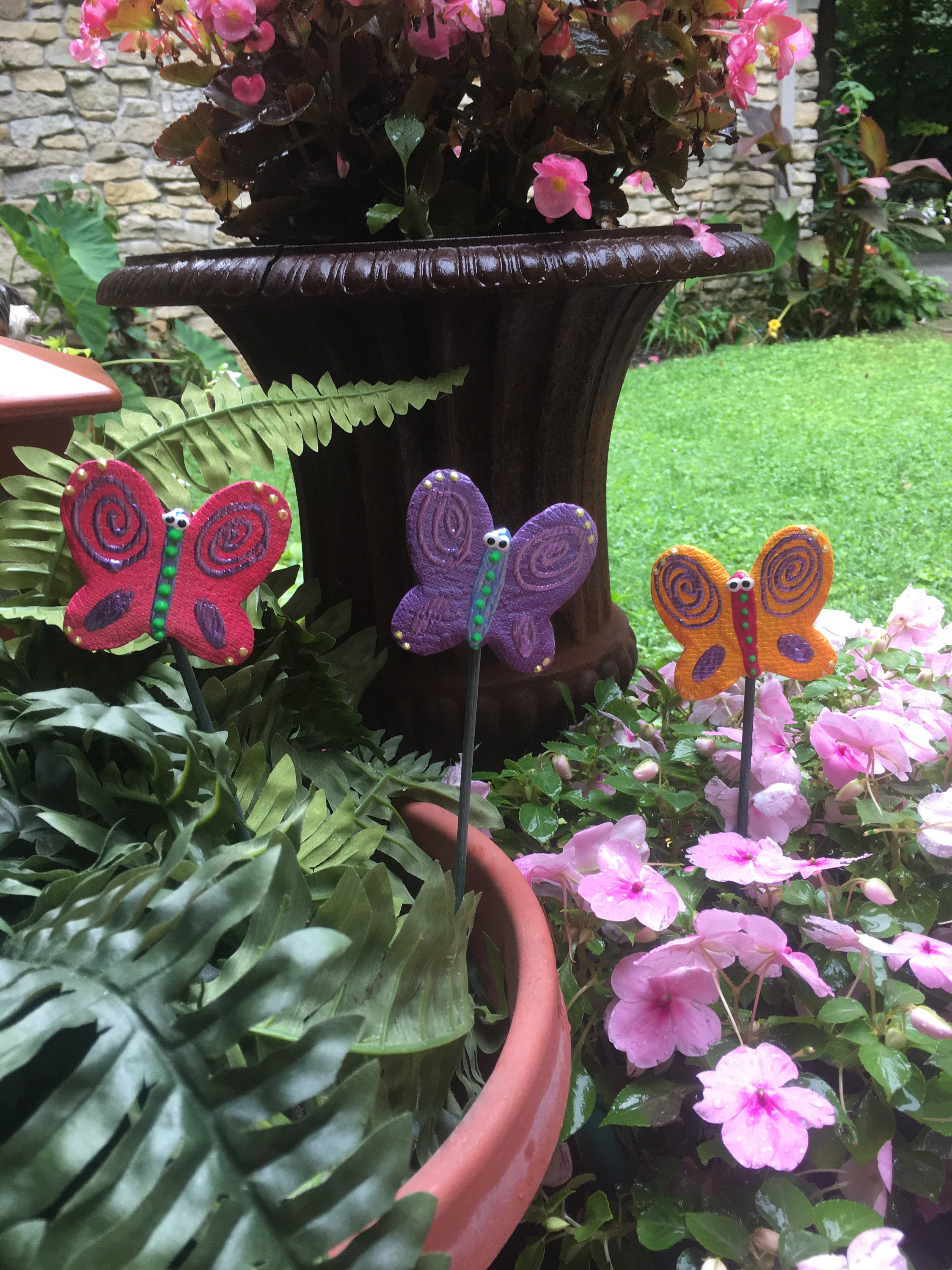 3 Ceramic Butterfly Garden Stakes, Garden Stakes,Potted ...