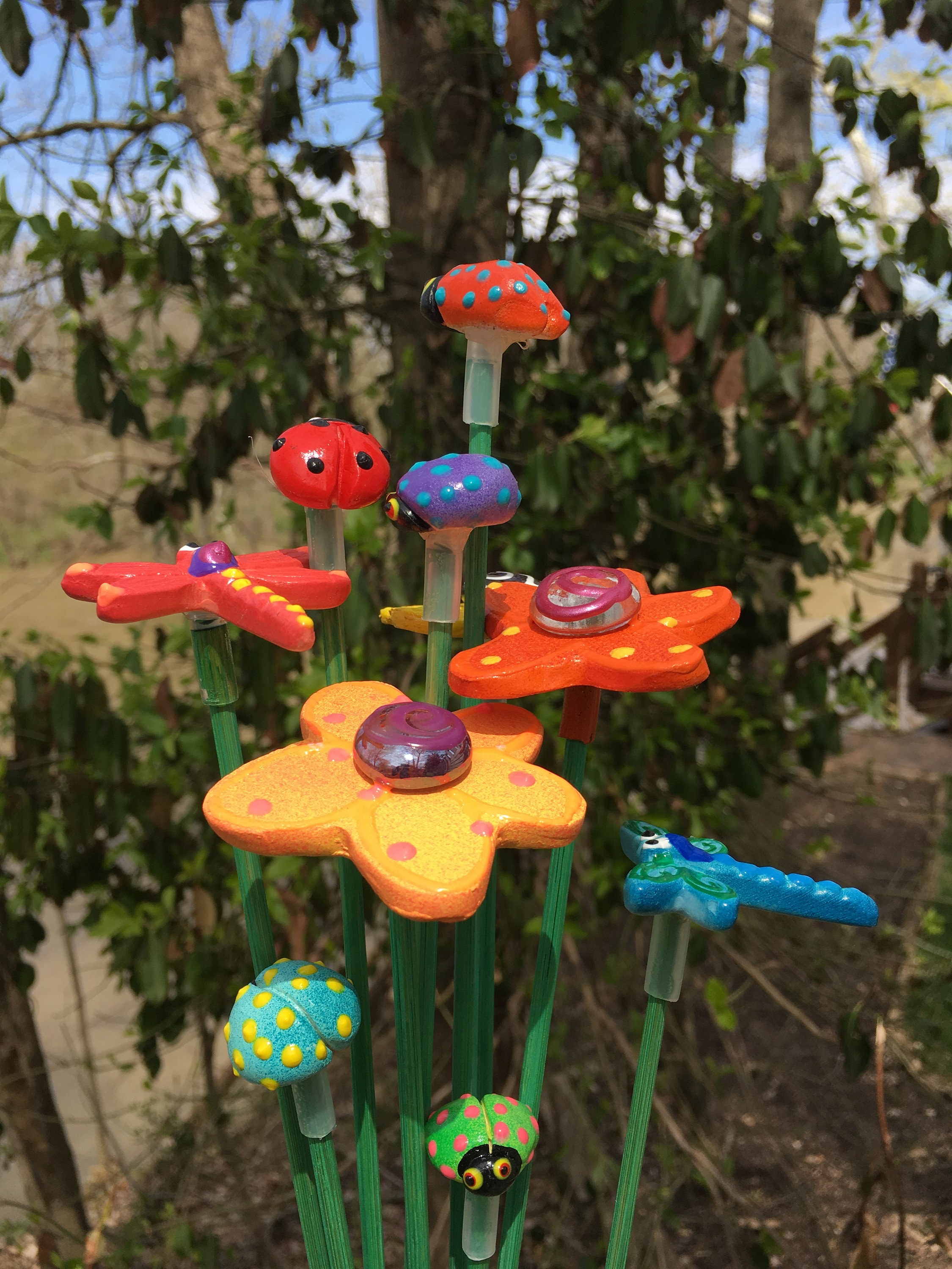 10 Ceramic Cute Garden Stakes, Garden Stakes,Potted plants ...