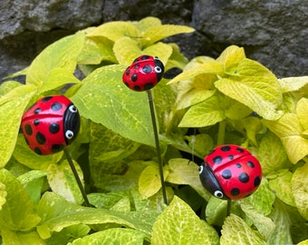 3 Ceramic Ladybug Garden Stakes, Garden Stakes,Potted plants, Great Gift,Lawn decor,Outdoor garden Stake,Garden Decor,Red Ladybugs