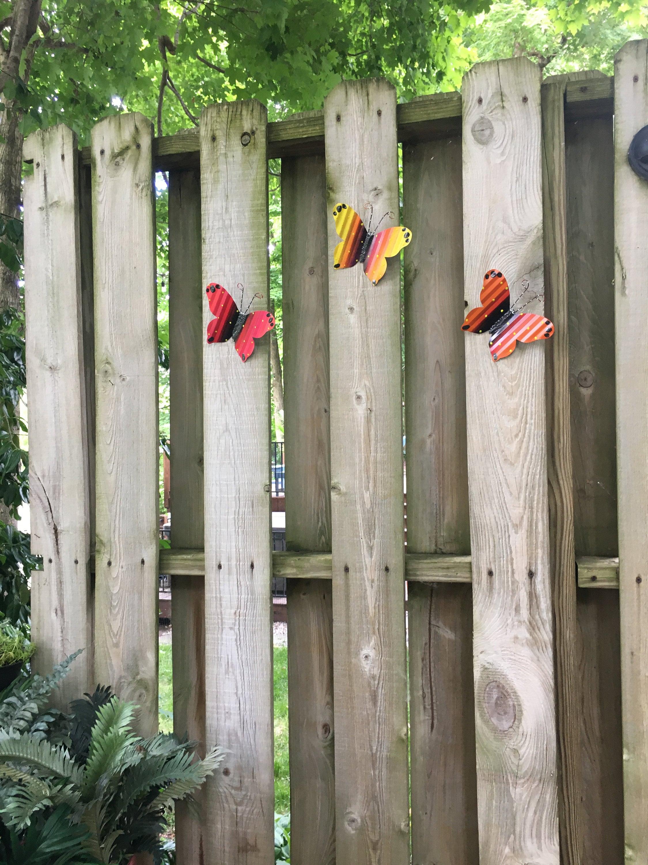 Set of 3 Metal Butterflies- Fence Art, Hanging -Fence Wall ...