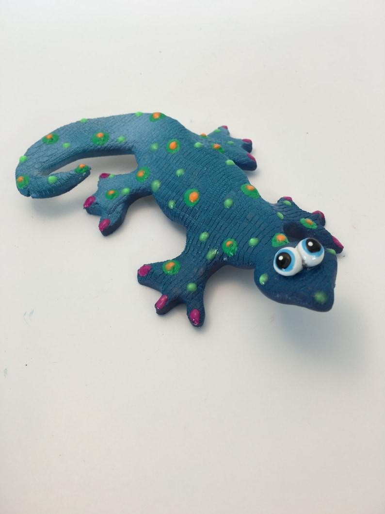 Blue Ceramic Lizard Animal Figurine Pottery Ornament Collectable Gift Gecko Deco