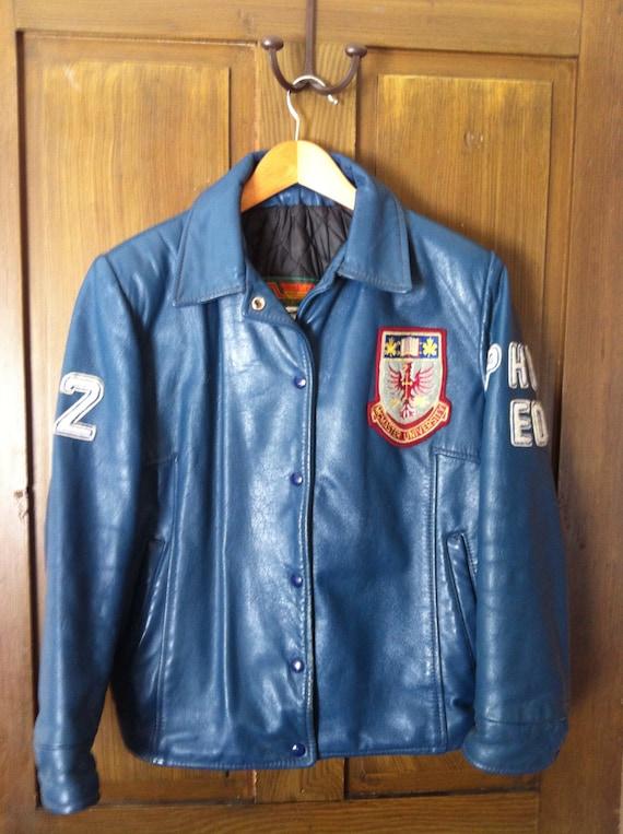 1990s Unisex Leather Canadian University Jacket