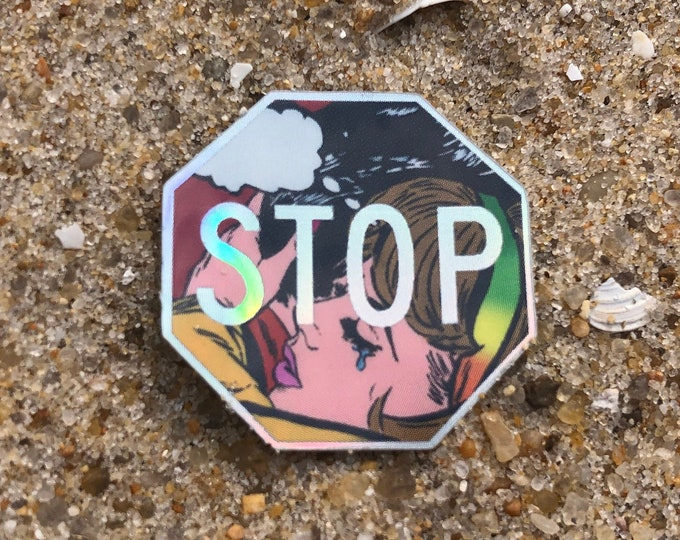 "STOP 1"" x 1"" mini holographic sticker"