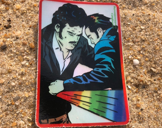 "One Two Punch 3"" x 2"" holographic sticker | pop art sticker/ rainbow bumper stickers/ romance comic vinyl/ stickers/ laptop sticker"