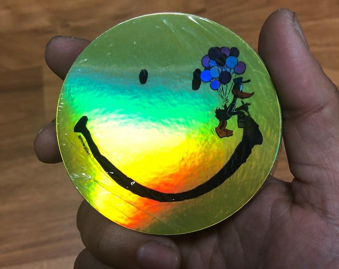 """duck / wish you were happy. 3"""" x 3"""" vinyl holographic sticker"""