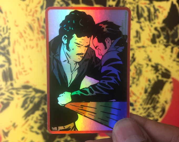 "One Two Punch 3"" x 2"" holographic sticker   pop art sticker/ rainbow bumper stickers/ romance comic vinyl/ stickers/ laptop sticker"