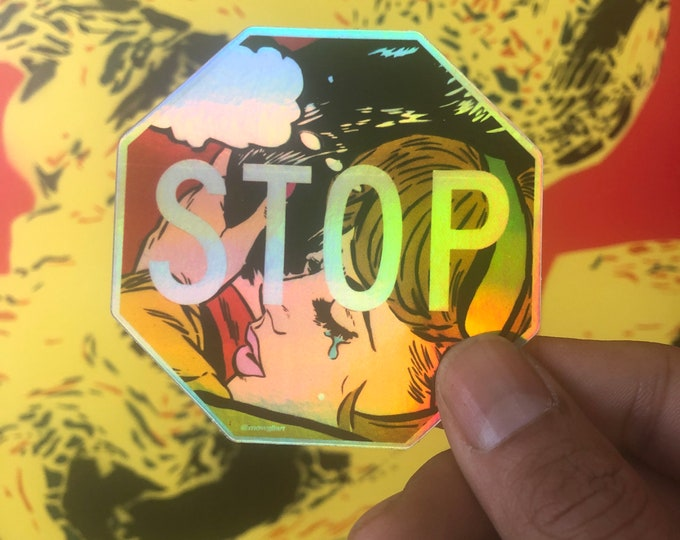 "SO 3"" x 3"" holographic sticker | pop art sticker/ stop decal/ stop sign bumper stickers/ romance comic  vinyl/ stickers/ laptop sticker love"