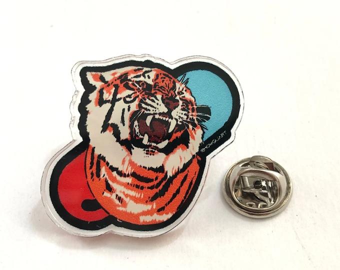 Tiger Pill Acrylic Pin