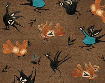"""Native brown birds, """"Trading Post"""" line of fabric."""