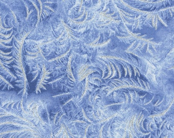 """A stunning fabric aptly named """"blizzard"""" in a blue background with a swirling ice design."""