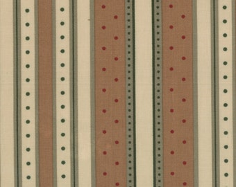 """A Holy Taylor """"Holiday in Pines"""" selction.  Brown, beige, green stripes with dots."""