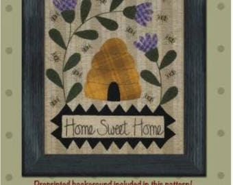 Home Sweet Home pattern with flowers and bee hive by Bonnie Sullivan.