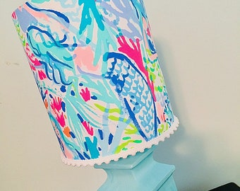 Lilly Pulitzer Pottery Barn Mermaid Cove Lamp shade only!
