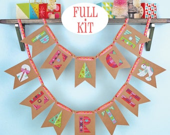 KIT - Peace on Earth - Satsuma Street modern cross stitch Christmas bunting - full kit option