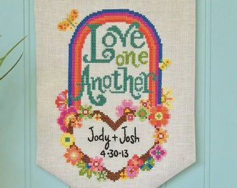 Love One Another - Satsuma Street - wedding sampler - modern cross stitch pattern - Instant download PDF