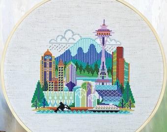 Pretty Little Seattle - Satsuma Street Modern Cross Stitch Pattern PDF - Instant download