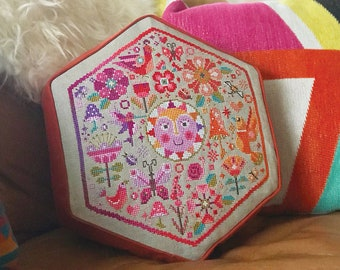 Garden Party Warm Colorway - Satsuma Street - modern cross stitch pattern - Instant download PDF