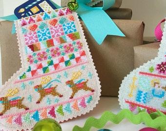 Mini Christmas Stockings - set of four charts - Satsuma Street holiday cross stitch pattern PDF - Instant download