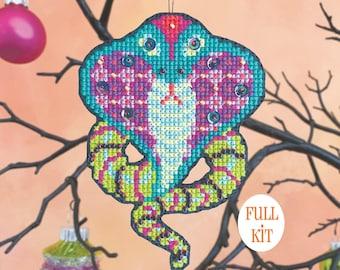 KIT - Sssslither - Satsuma Street Halloween Ornament cross stitch kit