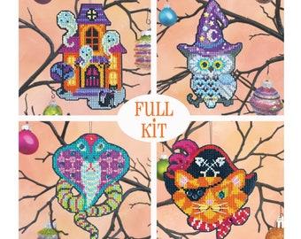 KIT - Halloween Ornament Set 2021 - Satsuma Street - four cross stitch kits
