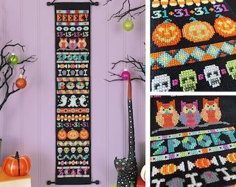 Ghastly Greetings - Satsuma Street - Halloween banner cross stitch pattern - Instant download PDF