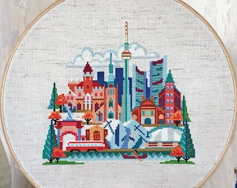 Pretty Little Toronto - Satsuma Street Modern Cross Stitch Pattern PDF - Instant download