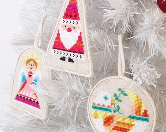 Christmas Ornaments - set of six - Satsuma Street modern cross stitch pattern PDF - Instant download