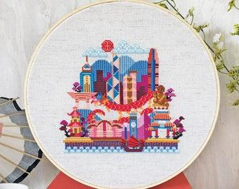 Pretty Little Hong Kong - printed version - Satsuma Street Modern Cross Stitch Pattern