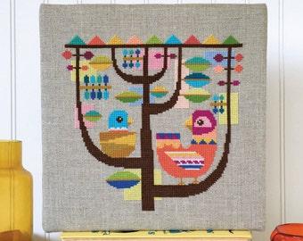 Happinest - modern birds - Satsuma Street cross stitch pattern PDF - Instant download