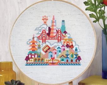 Pretty Little San Francisco - printed version - Satsuma Street Modern Cross stitch pattern