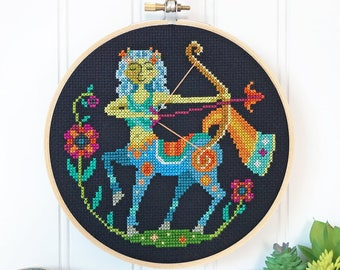Sagittarius - zodiac sign - Satsuma Street modern cross stitch pattern PDF - Instant download